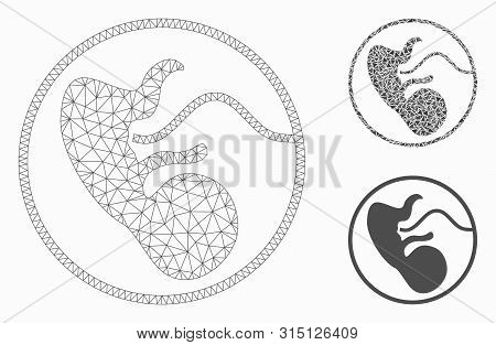 Mesh Prenatal Model With Triangle Mosaic Icon. Wire Carcass Triangular Mesh Of Prenatal. Vector Mosa