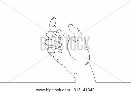 Continuous Single One Line Hand Drawing Hand, Hands, Arm, Finger, Object, Gesture, Sign, Palm, Fist