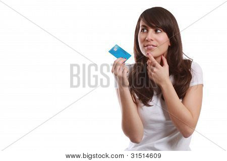 Isoalted Young Girl With Credit Card