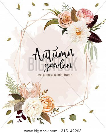 Geometric Floral Label Frame Arranged From Leaves And Flowers. Rust King Protea, Orange Rose, Ivory