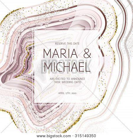 Rose Quartz Crystal Geode Square Vector Frame.stylish Pink Glitter Texture Card. Gold Border. Sparkl