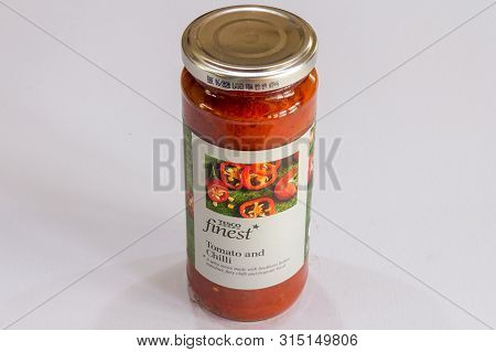 Phuket, Thailand - August 1st 2019: Tesco Finest Tomato And Chilli Sauce In A Glass Jar. Tesco Is A