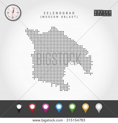 Dots Map Of Zelenograd, Moscow Oblast. Simple Silhouette Of Zelenograd. Vector Compass. Multicolored