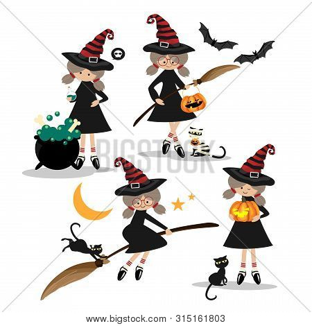 Vector Illustration Of Halloween Little Witches Collection.