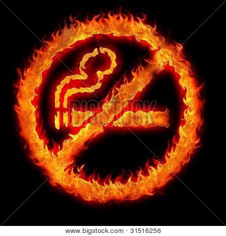 Burning No Smoking Sign