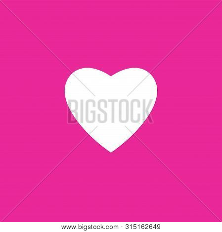 Pink Love Icon, White  Heart Logo Isolated With Pink Background. Heart Icon Eps. Simple Heart , Love