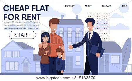 Real Estate Agency Landing Page With Best Offers. Cheap Flat In Apartment House, Affordable Cottages