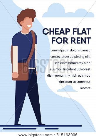 Cheap Flat For Rent Advertisement For Students. Young Smiling Male Teenager Standing With Bag. Banne