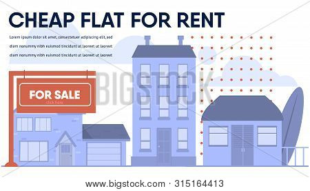 Banner Advertising Cheap Flat, Cottage, Budget House For Rent. Advertisement For Real Estate Agency.