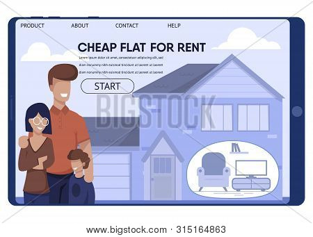 Cheap Rent Flat For Low-wage Family Landing Page. Real Estate Offer. Happy Cartoon Father, Mother An
