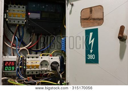 Small Realistic Untidy 380 Volt Electrical Box With Switches And Socket