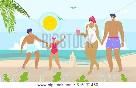 Cartoon Happy Family Walking And Having Rest On Beach. Mother, Father And Children With Suntan On Sk