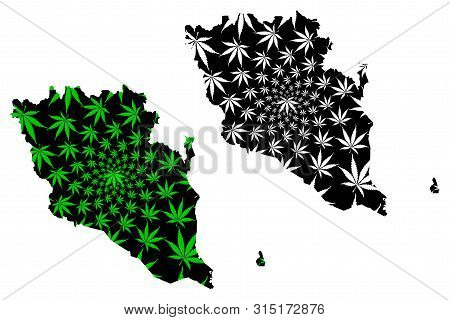 Pahang (States and federal territories of Malaysia, Federation of Malaysia) map is designed cannabis leaf green and black, Pahang Darul Makmur map made of marijuana (marihuana,THC) foliage, poster