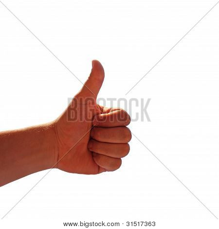 Male Hand Shows Thumb Up