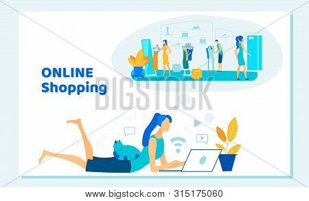 Woman Lying On Floor At Home With Laptop Making Online Shopping In Internet. Consumerism, Shopaholic