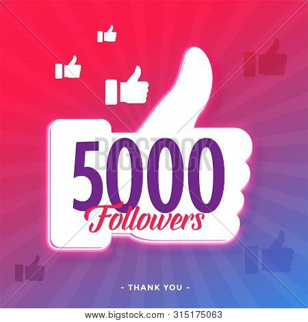 5000 Followers On Social Media Template Vector Illustration