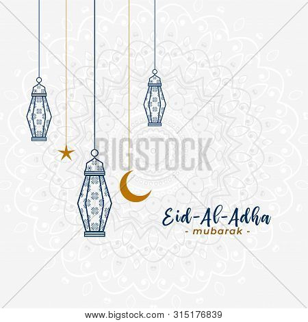 Lovely Islamic Eid Al Adha Greeting With Hanging Lamps