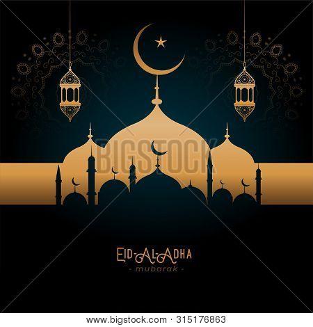 Beautifulgolden Mosque And Lamps Eid-al-adha Greeting Vector Illustration