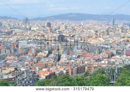 Barcelona, Spain. View Of The City In A Sunny Summer Day