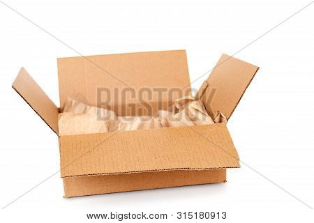 Cardboard Box With Wrapping Paper Inside Isolated On White Background, Recycling Concept
