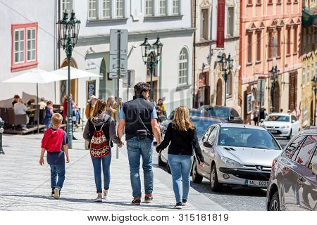 Prague, Czech Republic - May 8, 2019: Family Spring Vacation In Prague, Exploring The City