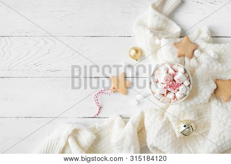Christmas Hot Chocolate With Marshmallows, Peppermint Candies In White Mug, Top View, Copy Space. Ho