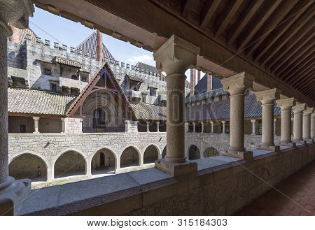 Guimaraes, Portugal  - April 2018: Courtyard Gallery In The Palace Of The Dukes Of Braganza