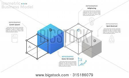 Chart With 4 Cubes Or Cubic Elements, Thin Line Icons And Place For Text. Concept Of Isometric Busin