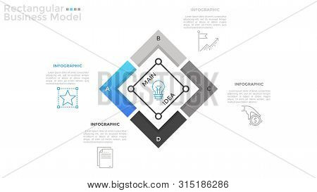 Square Chart Divided Into 4 Parts, Linear Pictograms And Place For Text. Concept Of Rectangular Busi