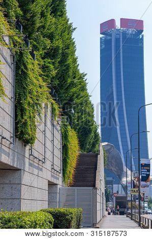 Milan, Italy - June 28, 2019: Generali Tower By Zaha Hadid In City Life Complex, Tre Torri Milan Pla