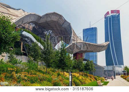 Milan, Italy - June 28, 2019: Isozaki Tower And Hadid Tower In City Life Complex, Tre Torri Milan Pl