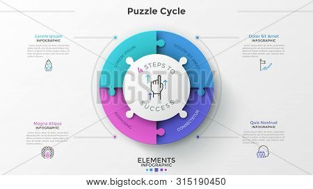 Round Pie Chart Divided Into 4 Jigsaw Puzzle Pieces, Thin Line Pictograms And Place For Text. Concep