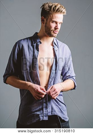 Bohemian Sexy Body. Confident And Attractive. Watch Me. Time Change Clothes. Man Handsome Sexy Hipst