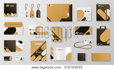 Set Of Corporate Identity Branding Mockup. Realistic Office Stationery Branding Business Card Letter