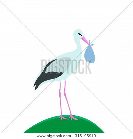 Vector Illustration, Stork Stands With Bag. A Stork Is Standing On The Lawn.
