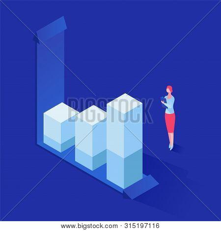 Expert Analyzing Statistics Vector Isometric Illustration. Female Specialist, Financier, Banker Stud