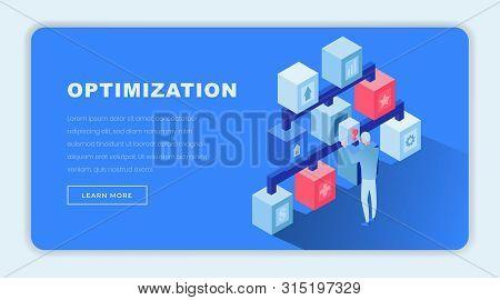 Optimized Solutions Isometric Landing Page Template. 3d Economist, Finance Expert Making Decisions,