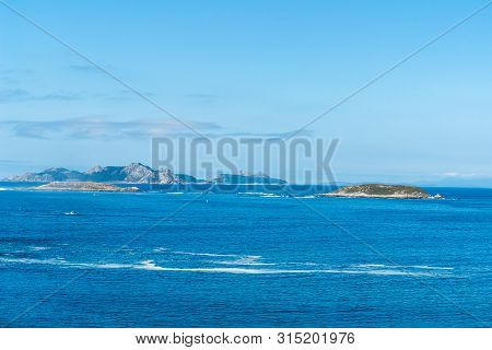 View Of Estelas Islands From Baiona In Province Of Pontevedra - Galicia, Spain