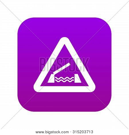 Lifting Bridge Warning Sign Icon Digital Purple For Any Design Isolated On White Vector Illustration
