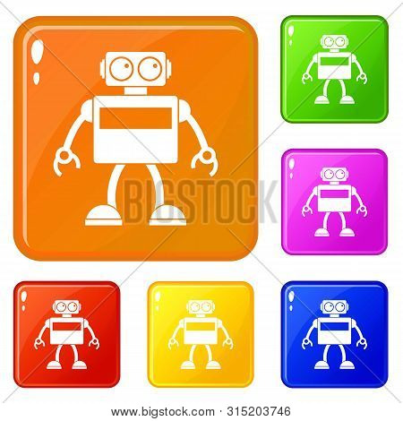 Android robot icons set collection vector 6 color isolated on white background poster
