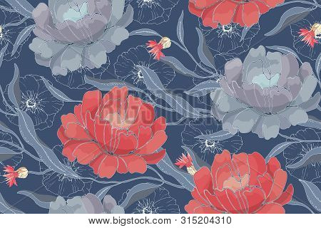 Art Floral Vector Seamless Pattern. Red, Blue Flowers With Branches, Leaves Isolated On Blue Backgro