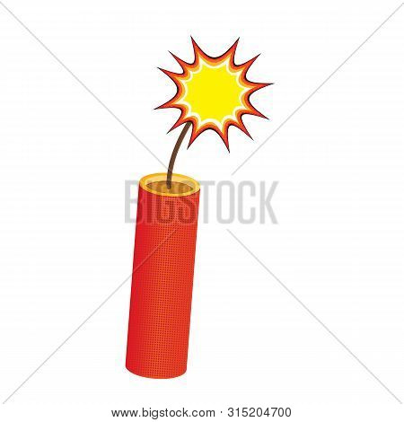 One Red Dynamite Stick, With Burning Wick Isolated On White, Vector Eps10. Burning Dynamite Stick Co