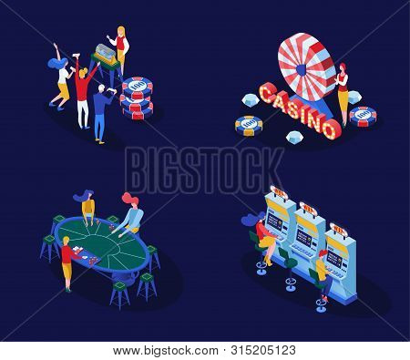 Casino Games Isometric Vector Illustrations Set. Male And Female Gamblers Playing Poker, Blackjack C