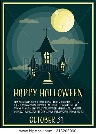 Halloween Background With Haunted House With Moon And Happy Halloween Text.