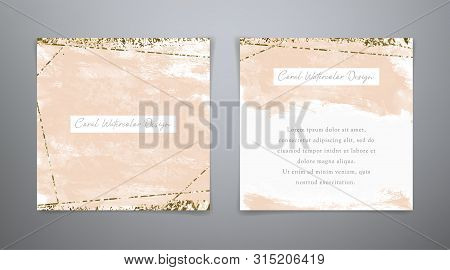 Fashion Collection Coral Cards. Set Vector Watercolor Backgrounds In Coral And Gold Colors. Watercol