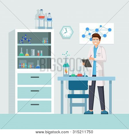 Scientist at work vector illustration. Male lab worker taking notes, describing test, chemical reaction cartoon character. Cheerful researcher doing experiments in laboratory, using lab equipment poster