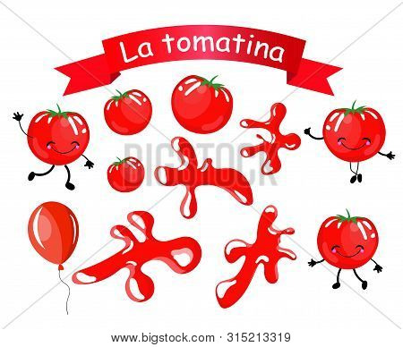 Stickers. Isolated Objects For Decoration Of The Spanish Festival Of The Battle Of Tomatoes La Tomat