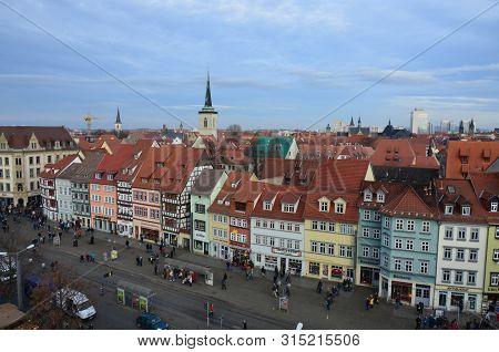 Erfurt, Germany - 12.10.2016: Panoramic Aerial View Of Erfurt