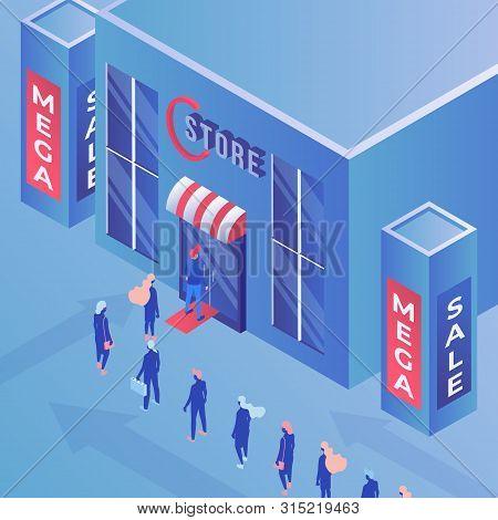 Store Mega Sale Isometric Vector Illustration. Consumerism, Shopping, Advertisement And Marketing, P
