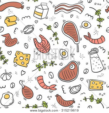 Carnivore Diet Seamless Pattern. Food Pattern With Pork, Meat, Shrimp, Egg, Cheese, Sausage, Fish, S